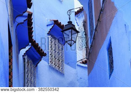 View Of The Streetlight Of Medina Quarter In Chefchaouen, Morocco. The City, Also Known As Chaouen I