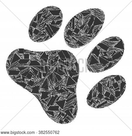 Shard Mosaic Paw Footprint Icon. Paw Footprint Mosaic Icon Of Spall Items Which Have Randomized Size