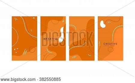 Colorful Abstract Geometric Mimphis Banners On A White Background. Design Backgrounds For Social Med