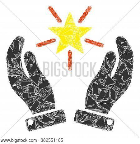 Spall Mosaic Shine Star Care Hands Icon. Shine Star Care Hands Mosaic Icon Of Shards Items Which Hav