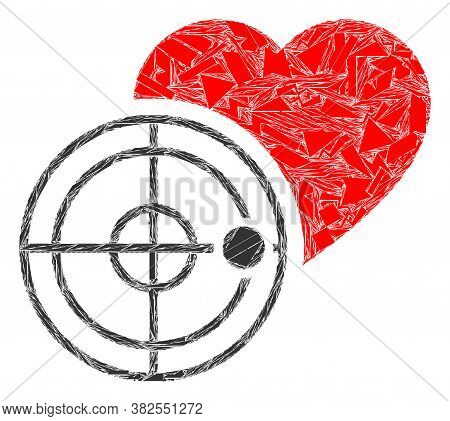Fraction Mosaic Love Heart Radar Icon. Love Heart Radar Collage Icon Of Fraction Elements Which Have