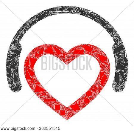 Shatter Mosaic Romantic Dj Headphones Icon. Romantic Dj Headphones Mosaic Icon Of Shatter Elements W