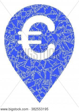 Detritus Mosaic Euro Map Marker Icon. Euro Map Marker Mosaic Icon Of Spall Elements Which Have Diffe