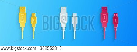 Paper Cut Usb Micro Cables Icon Isolated On Blue Background. Connectors And Sockets For Pc And Mobil