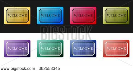 Set Doormat With The Text Welcome Icon Isolated On Black And White Background. Welcome Mat Sign. Vec