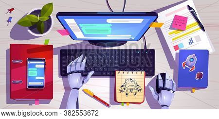 Workspace With Robot Working On Computer Keyboard Top View. Concept Of Chat Bot With Ai. Vector Cart