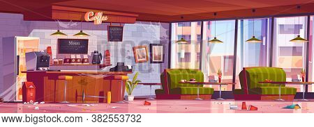 Old Abandoned Coffee Shop With Wooden Counter, Stools, Dirty Sofas And Tables. Vector Cartoon Interi