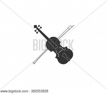 Music, String, Violin Icon. Vector Illustration, Flat Design.