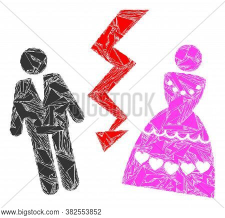 Shards Mosaic Divorce Persons Icon. Divorce Persons Mosaic Icon Of Shards Elements Which Have Variab