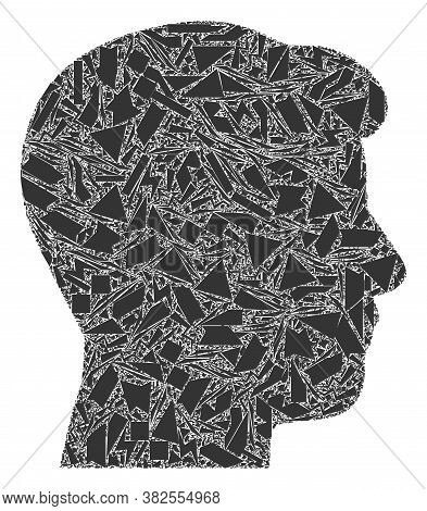Spall Mosaic Man Head Profile Icon. Man Head Profile Mosaic Icon Of Spall Elements Which Have Variab
