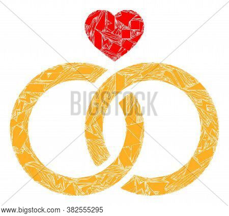 Debris Mosaic Wedding Rings Icon. Wedding Rings Collage Icon Of Debris Items Which Have Variable Siz