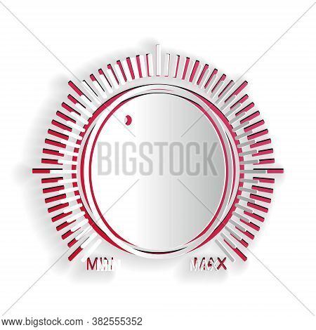 Paper Cut Dial Knob Level Technology Settings Icon Isolated On White Background. Volume Button, Soun