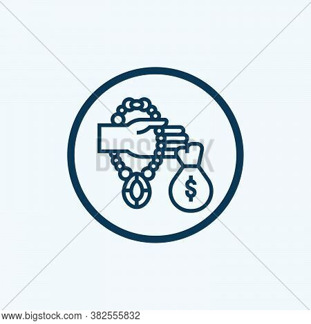 Pawn Shop Icon. Thin Linear Pawn Shop Outline Icon Isolated On White Background From Jewelry Collect