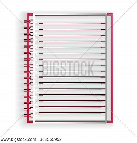 Paper Cut Notebook Icon Isolated On White Background. Spiral Notepad. School Notebook. Writing Pad.