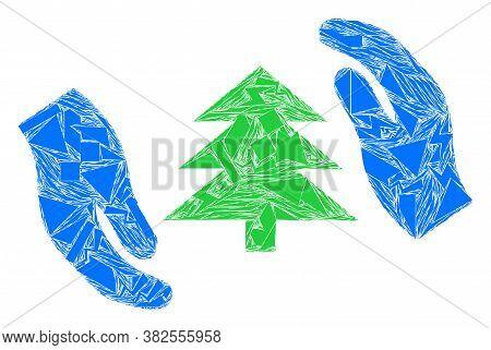 Fragment Mosaic Fir Tree Care Hands Icon. Fir Tree Care Hands Mosaic Icon Of Debris Elements Which H