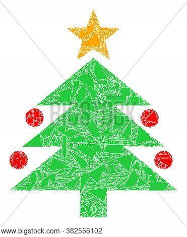 Debris Mosaic Christmas Tree Icon. Christmas Tree Mosaic Icon Of Debris Elements Which Have Randomiz