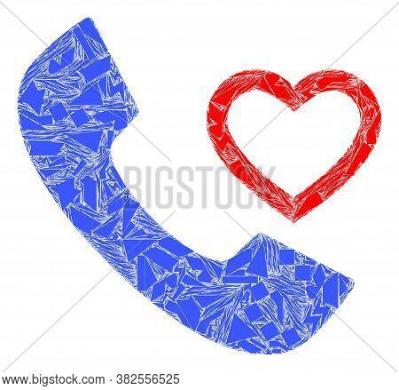 Spall Mosaic Love Phone Receiver Icon. Love Phone Receiver Mosaic Icon Of Spall Items Which Have Var