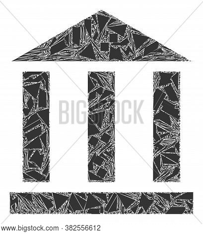 Debris Mosaic Library Building Icon. Library Building Mosaic Icon Of Shards Items Which Have Variabl