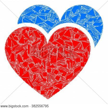 Debris Mosaic Love Hearts Icon. Love Hearts Mosaic Icon Of Debris Elements Which Have Variable Sizes