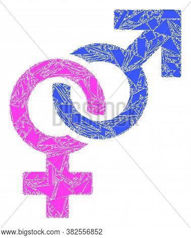 Detritus Mosaic Straight Sex Symbol Icon. Straight Sex Symbol Collage Icon Of Detritus Elements Whic