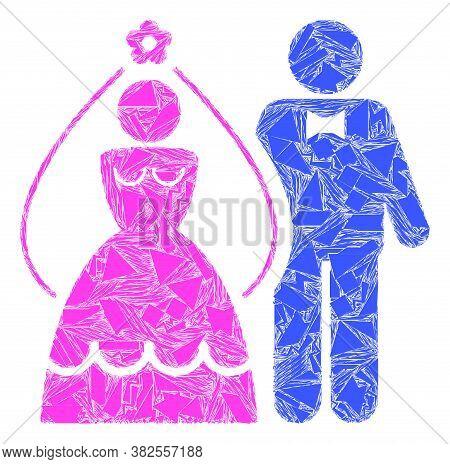 Shatter Mosaic Newlyweds Icon. Newlyweds Mosaic Icon Of Shatter Elements Which Have Randomized Sizes