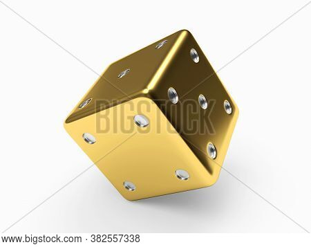 Golden Dice Cube On White Background. 3d Illustration