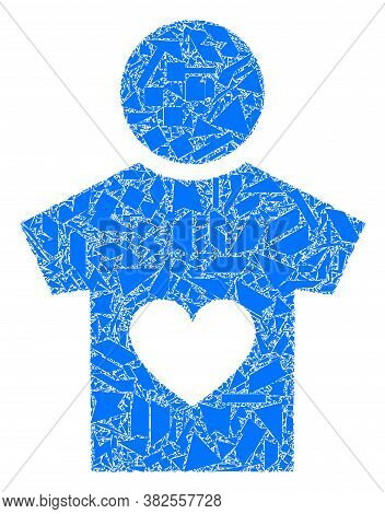 Shard Mosaic Lover Boy Icon. Lover Boy Collage Icon Of Fraction Items Which Have Different Sizes, An