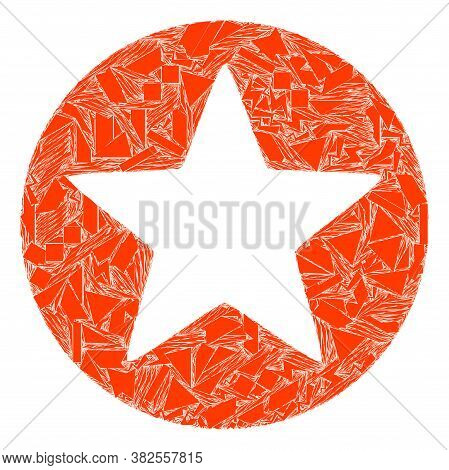 Debris Mosaic Rounded Star Icon. Rounded Star Mosaic Icon Of Debris Elements Which Have Different Si