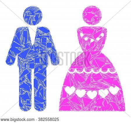 Debris Mosaic Marriage Couple Icon. Marriage Couple Mosaic Icon Of Debris Elements Which Have Variab
