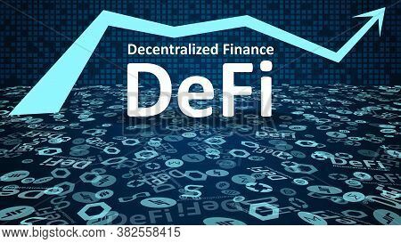 Defi - Decentralized Finance With Altcoin Logos And Up Arrow Symbol On Dark Blue Background. Signs O
