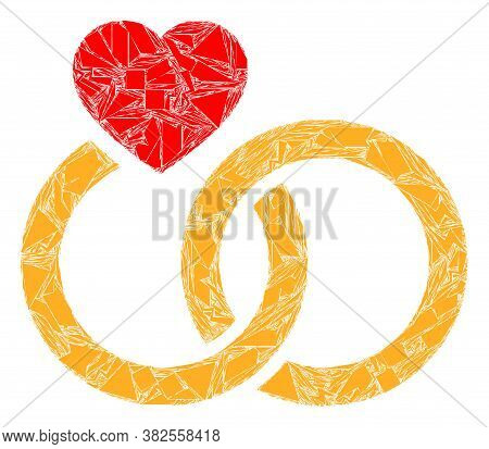 Fragment Mosaic Marriage Rings Icon. Marriage Rings Mosaic Icon Of Fragment Elements Which Have Vari