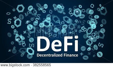 Defi - Decentralized Finance With Altcoin Logos On A Dark Blue Background. Signs Of The Largest Proj