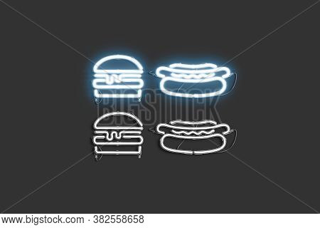 Decorative Burger And Hot Dog Neon Symbol Mockup, 3d Rendering. Catering Of Fastfood Delivery Decora
