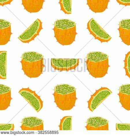 Illustration On Theme Big Colored Seamless Kiwano, Bright Fruit Pattern For Seal. Fruit Pattern Cons