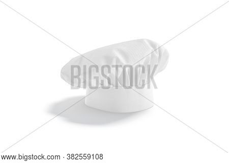 Blank White Toque Chef Hat Mock Up Stand, Side View, 3d Rendering. Empty Protective Chief-cooker Hea