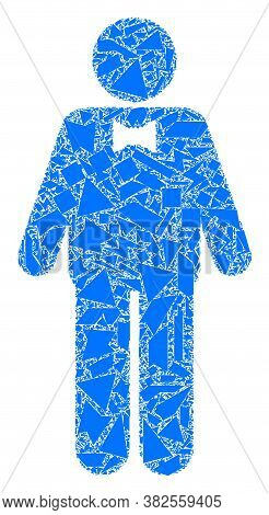 Shard Mosaic Groom Icon. Groom Mosaic Icon Of Shard Items Which Have Variable Sizes, And Positions,