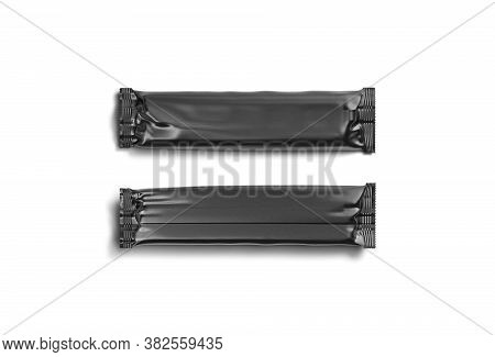 Blank Black Rectangular Chocolate Bar Foil Wrap Mockup, Front Back, 3d Rendering. Empty Dessert Seal