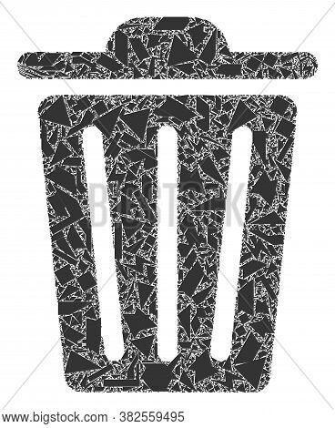 Shatter Mosaic Trash Can Icon. Trash Can Mosaic Icon Of Fraction Items Which Have Randomized Sizes,