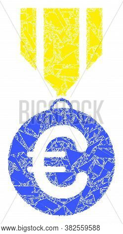 Shards Mosaic Euro Medal Icon. Euro Medal Collage Icon Of Shards Elements Which Have Various Sizes,