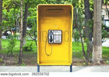 Close Up Of The Public Pay Phone In The City