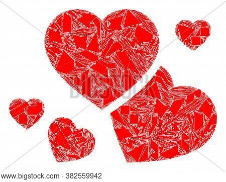 Fragment Mosaic Romantic Hearts Icon. Romantic Hearts Mosaic Icon Of Fragment Elements Which Have Ra