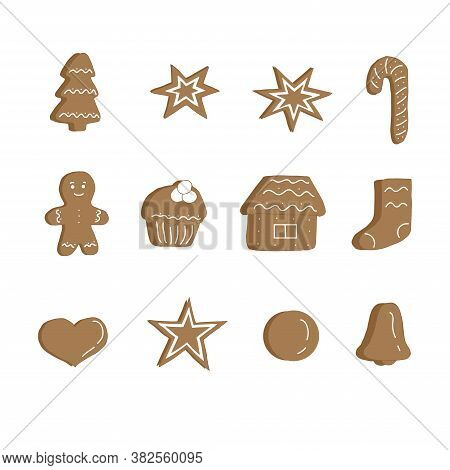 Set Of Brown Christmas Cookies With White Icing, Vector Illustration, Hand Drawing