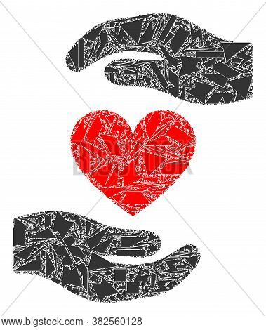 Fraction Mosaic Love Heart Hands Protection Icon. Love Heart Hands Protection Collage Icon Of Shards
