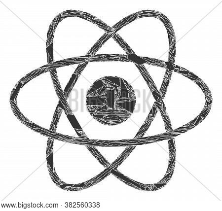 Debris Mosaic Atom Icon. Atom Mosaic Icon Of Spall Elements Which Have Randomized Sizes, And Positio