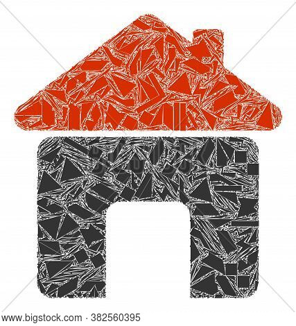 Debris Mosaic House Icon. House Mosaic Icon Of Debris Items Which Have Different Sizes, And Position
