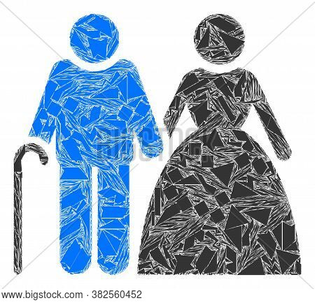 Spall Mosaic Grandparents Couple Icon. Grandparents Couple Collage Icon Of Shards Items Which Have V