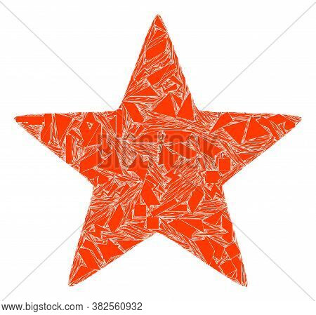 Shatter Mosaic Red Star Icon. Red Star Mosaic Icon Of Fraction Items Which Have Variable Sizes, And