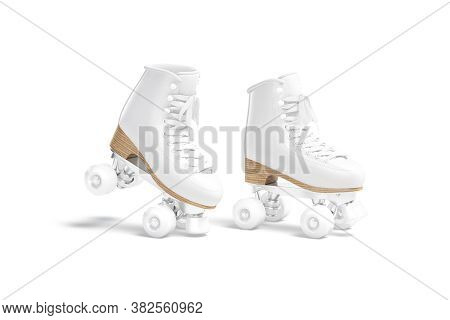 Blank White Roller Skates With Wheels Mockup Toe, Half-turned View, 3d Rendering. Empty Retro-styled