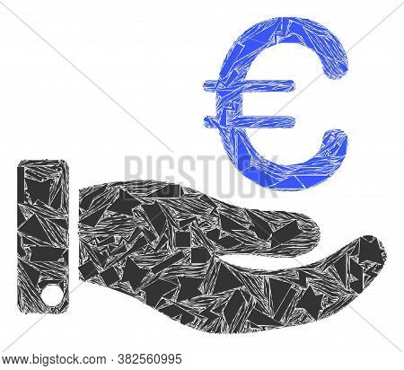 Fraction Mosaic Hand Give Euro Icon. Hand Give Euro Mosaic Icon Of Fraction Elements Which Have Vari