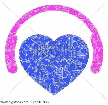 Debris Mosaic Favourite Headphones Icon. Favourite Headphones Mosaic Icon Of Shard Elements Which Ha